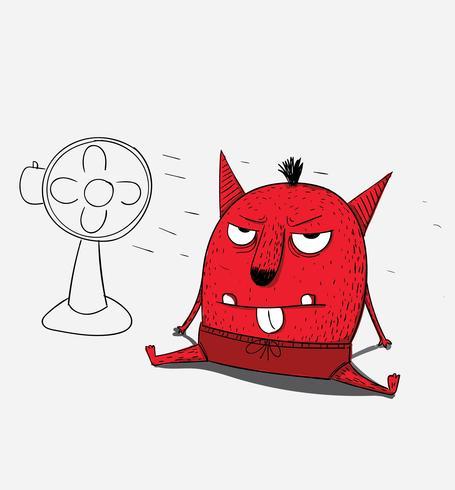 Het rode monster is boos en boos, hij wordt beter nadat hij zichzelf heeft afgekoeld