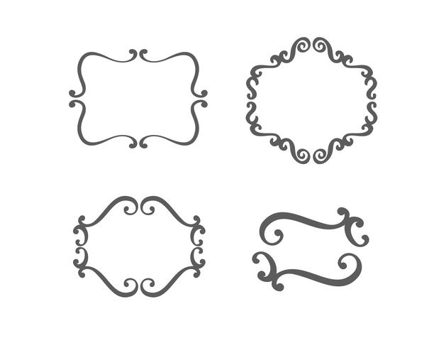 Insieme dell'annata di vettore delle cornici del confine che incidono con il retro ornamento nel disegno decorativo di stile antico di rococò