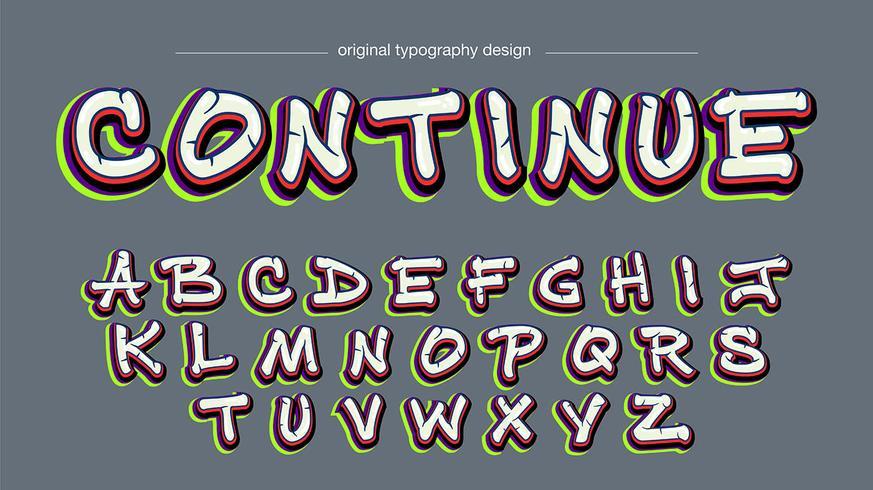Kleurrijk graffiti typografieontwerp vector