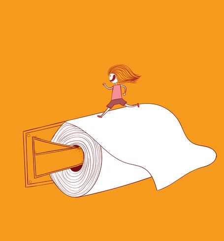 Das Mädchen läuft auf Toilettenpapier Toilettenpapier