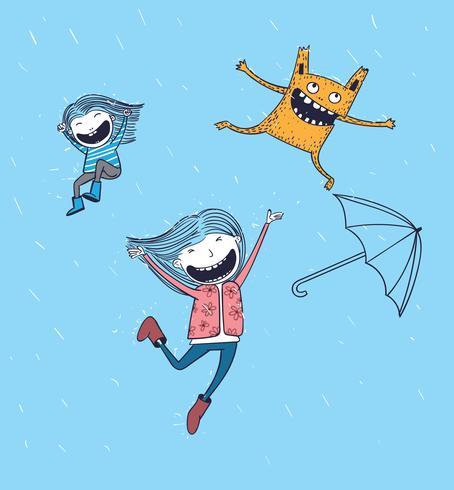 Zowel meisjes als rode monsters zijn vrienden, iedereen die regen speelt vector
