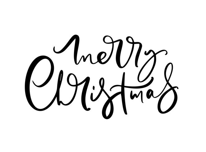 Merry Christmas black handwritten lettering text. Inscription calligraphy vector illustration holiday phrase, typography banner with brush script