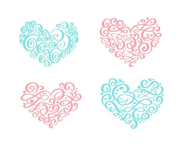 Set van vintage ornament hart. Vectorillustratie voor wenskaart, uitnodiging, Valentijnsdag, bruiloft