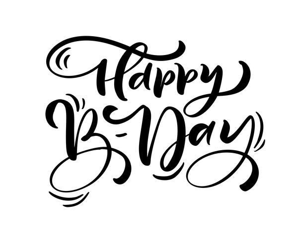 Vektor illustration handskriven modern pensel bokstäver av Grattis på födelsedagen text på vit bakgrund. Handritad typografi design. Gratulationskort