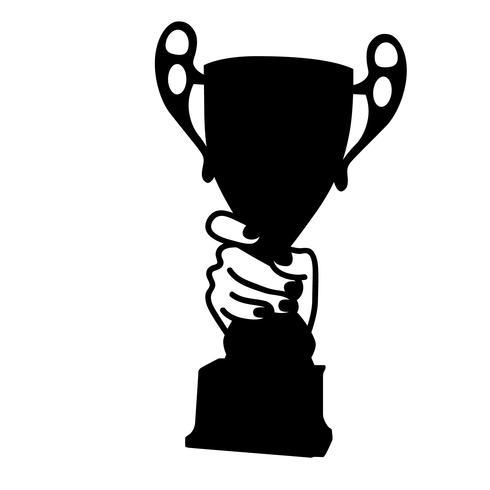 segurando um troféu