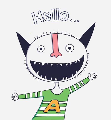 Animali del fumetto il design di carattere vettoriale carino mostro