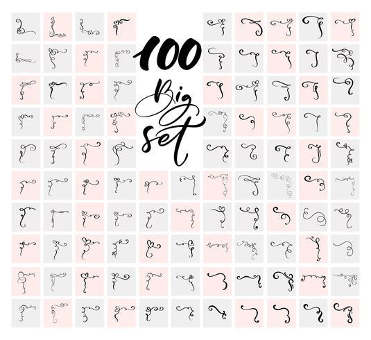Satz von 100 Ecken und Designelementen. Dekorative Verzierungen der Vektorweinleselinie eleganten Strudels. Mit Filigran geschmückte Designelementteiler der Blumenlinie