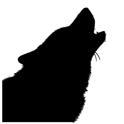 vector de lobo aullando