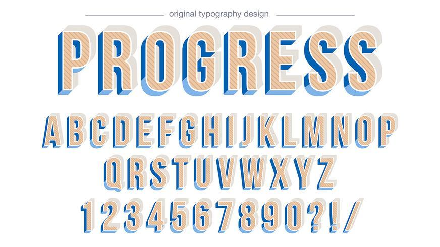 Design de tipografia em negrito bisel azul