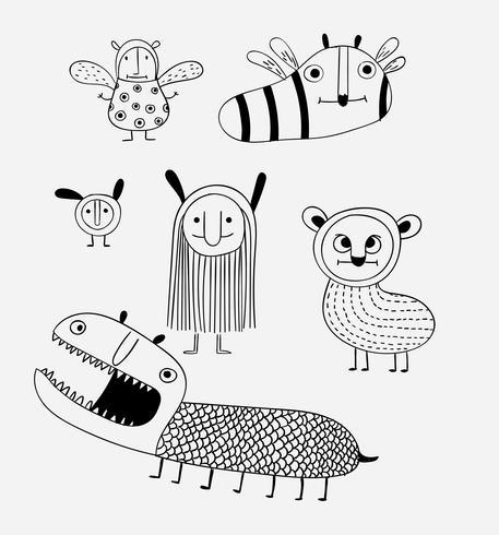 Cartoon animals the cute monster vector character design