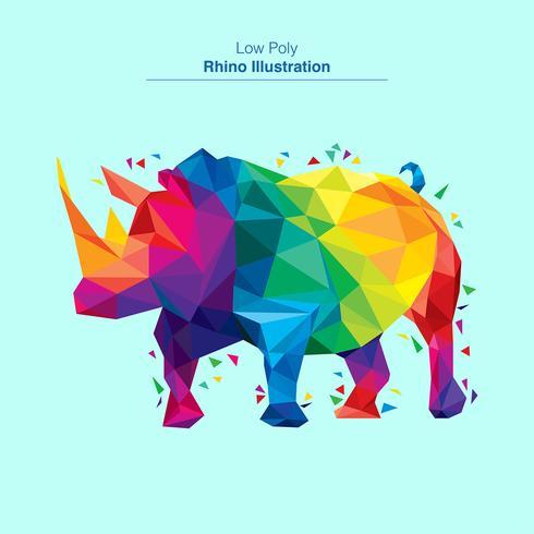 Diseño colorido del vector del rhino polivinílico bajo