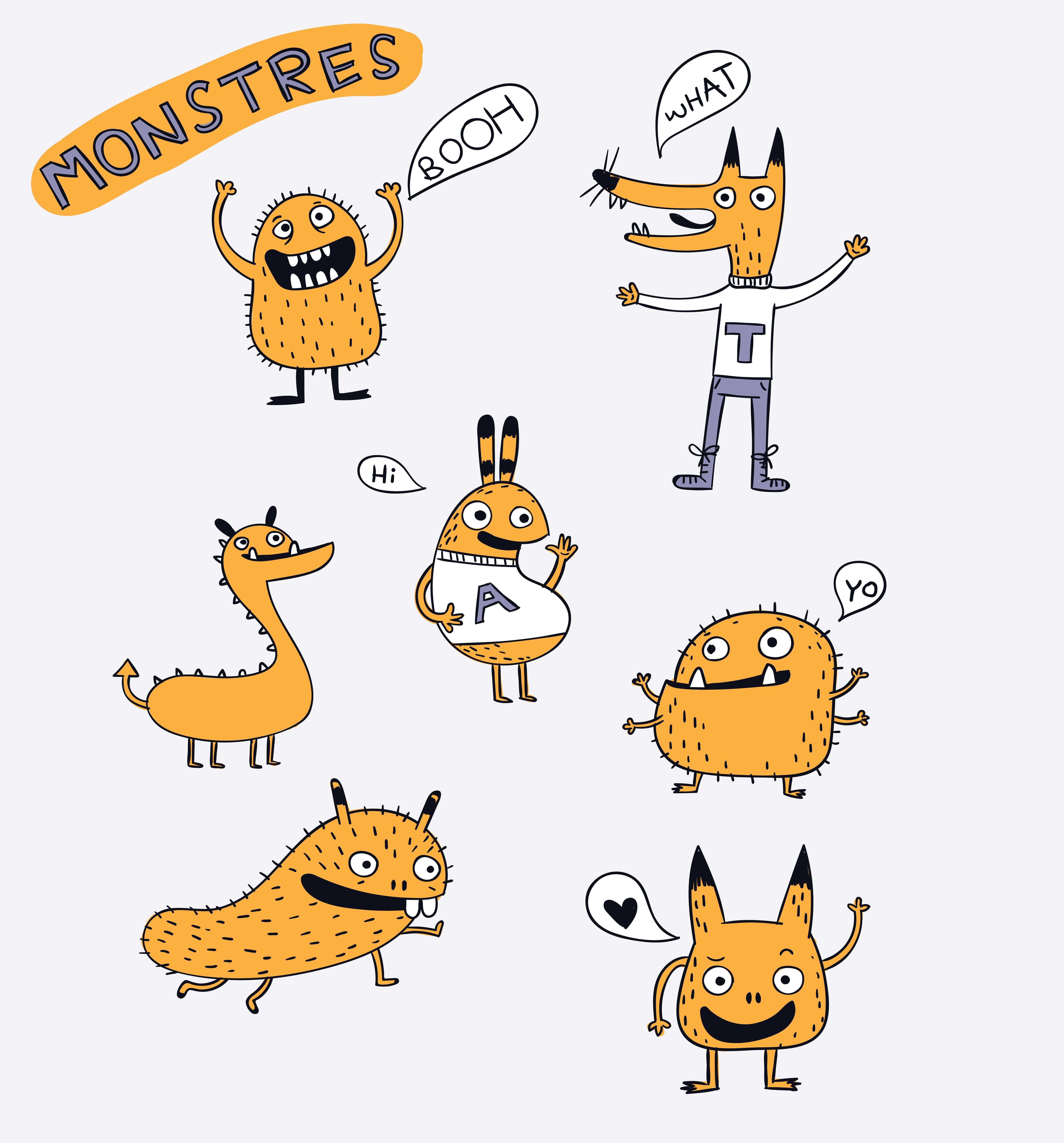 Cartoon animals the cute monster vector character design ...