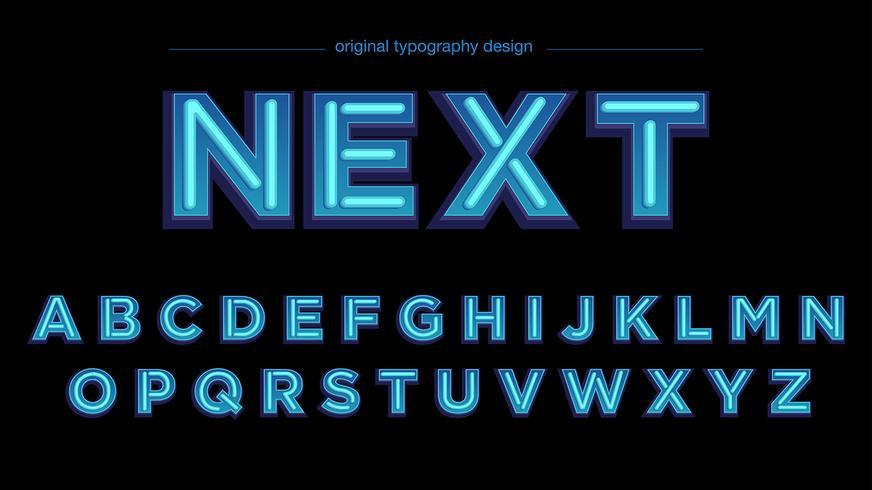 Blauw neonlicht typografieontwerp