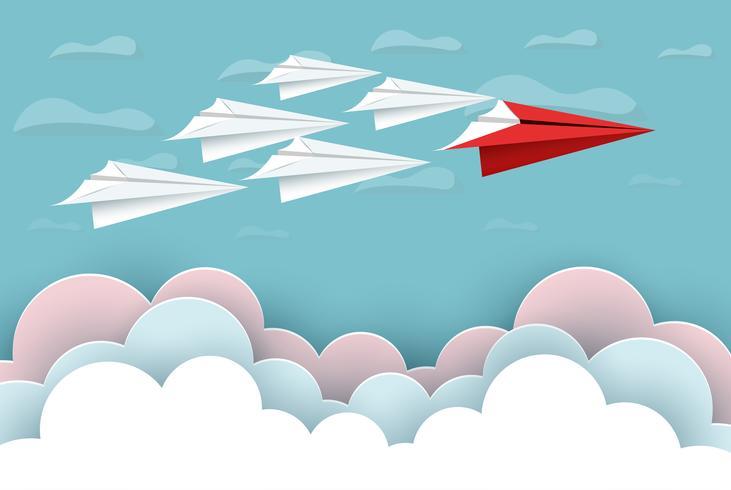 papper flygplan rött och vitt flyger upp till himlen mellan moln naturlandskap gå till målet