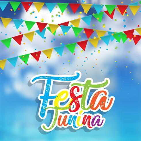 Fundo Festa Junina com céu defocussed