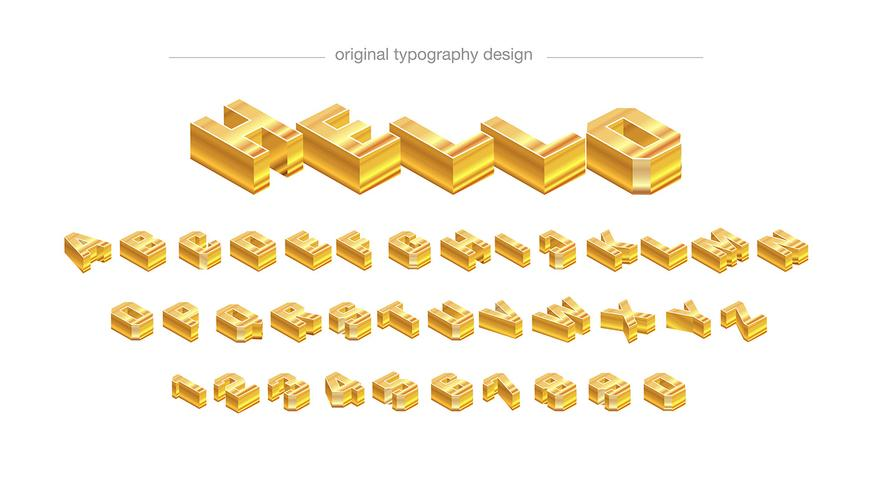Abstract golden bar typography design