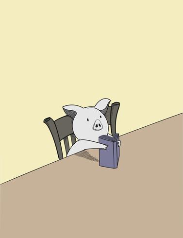 Um porco bonito lendo um livro que ele está segurando em suas mãos e olhando muito confuso