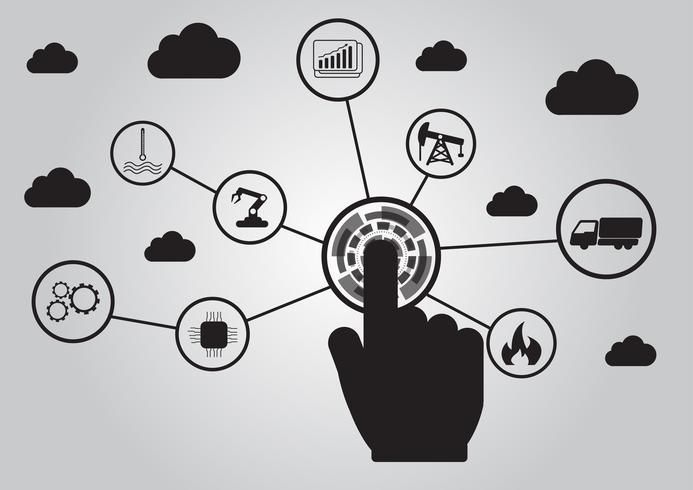 Icono del concepto de la industria 4.0, red de Internet de las cosas, solución de fábrica inteligente, tecnología de fabricación, robot de automatización con fondo gris
