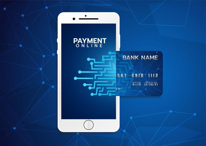 Mobile payment concept, Smartphone with processing of mobile payments from credit card. Vector illustration