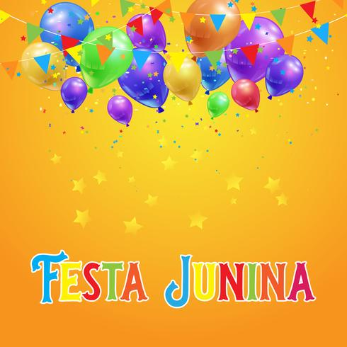 Fond Festa Junina avec des ballons, des confettis et des bannières