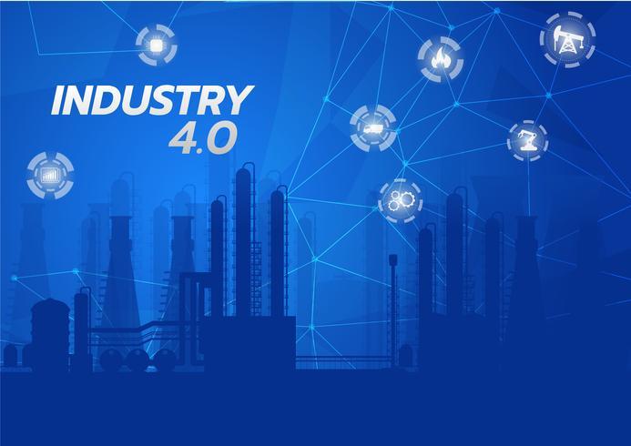 Immagine di concetto di industria 4.0. strumenti industriali in fabbrica, Internet of things network vettore