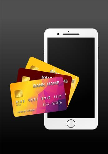 Conceito de pagamento móvel, Smartphone com processamento de pagamentos móveis de cartão de crédito. Ilustração vetorial vetor