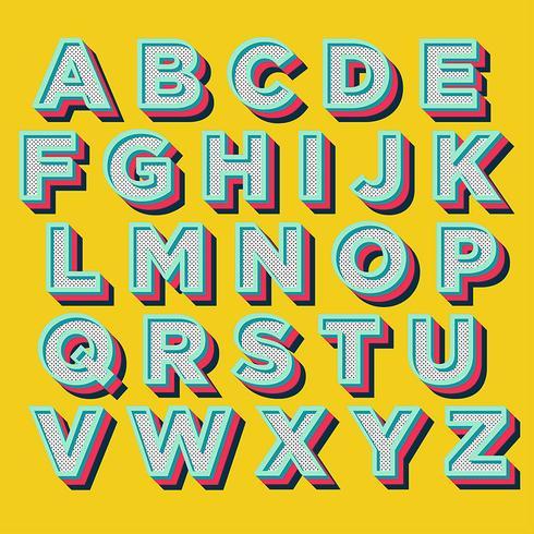 Design tipografia retro colorido