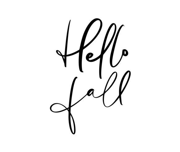 Hello fall lettering calligraphy text isolated on white background. Hand drawn vector illustration. Black and white poster design elements