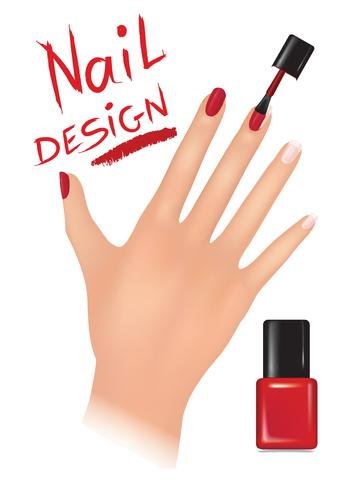 Nail polish design. Beauty salon background. Womans hand