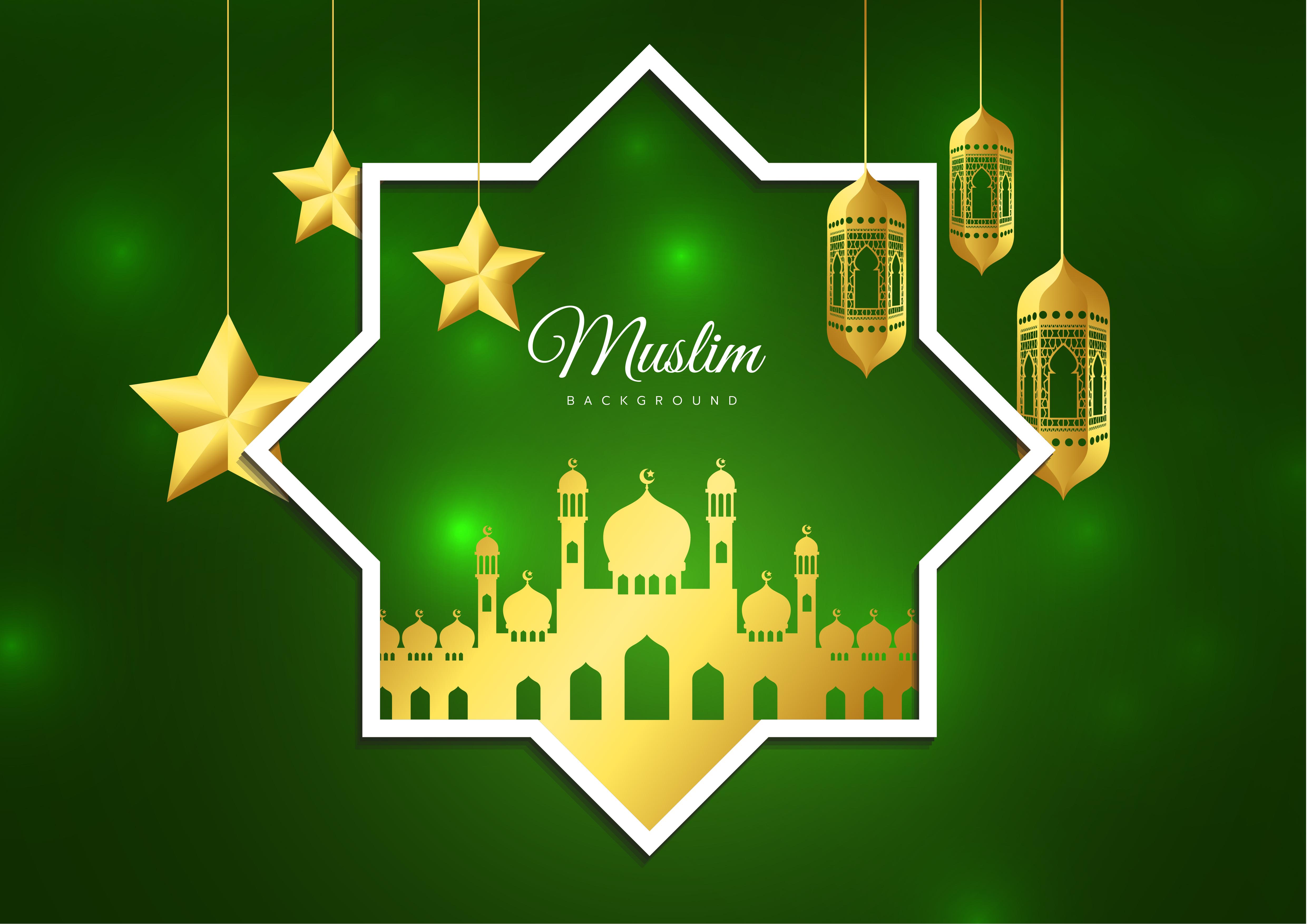 Vector illustration of Eid Mubarak Islamic holiday ...