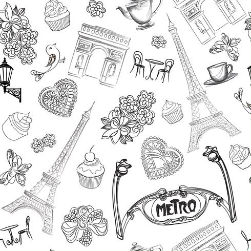 Travel Paris seamless pattern. Vacation in Europe wallpaper.