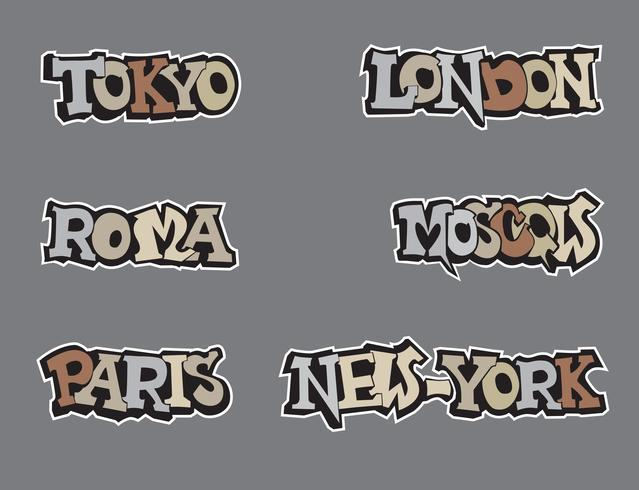 City tag set in graffiti style. Wold capital cities handwritten lettering vector