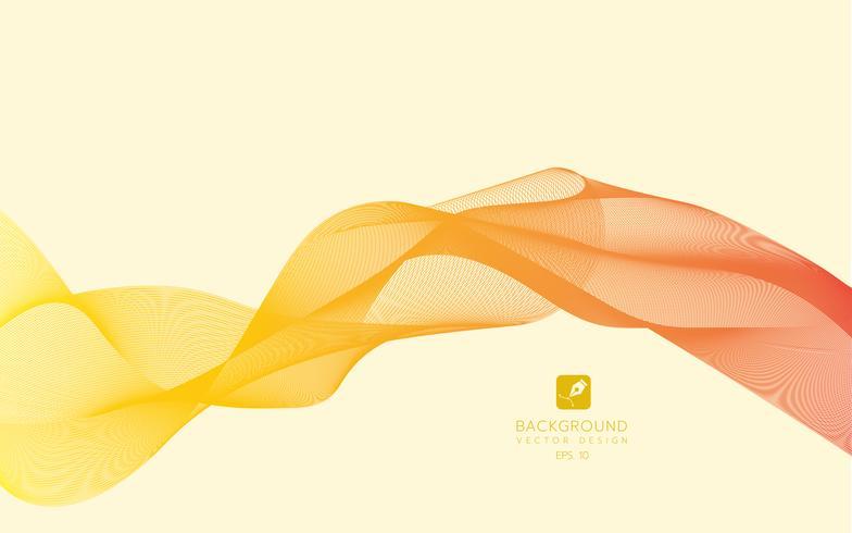 Linee astratte su uno sfondo. Linea artistica. Illustrazione vettoriale Onda arancione con linee create con lo strumento di fusione. Linea ondulata curva, striscia liscia. Elemento di design.