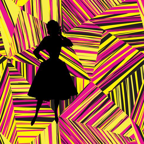 Fashion girl silhouette over abstract geometric line seamless pattern