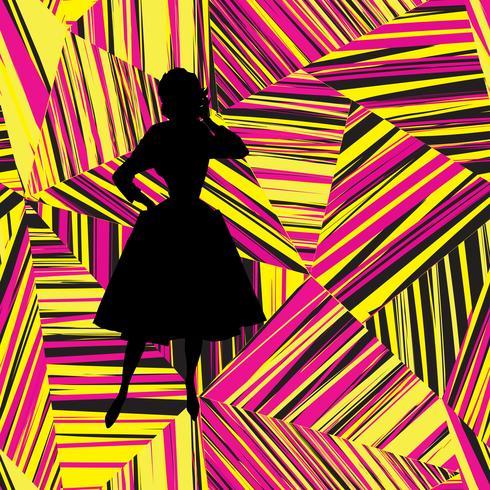 Silueta de chica de moda sobre la línea geométrica abstracta de patrones sin fisuras