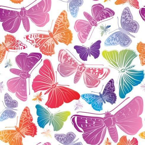 Vlinder naadloos patroon. Zomer vakantie dieren in het wild florale achtergrond.