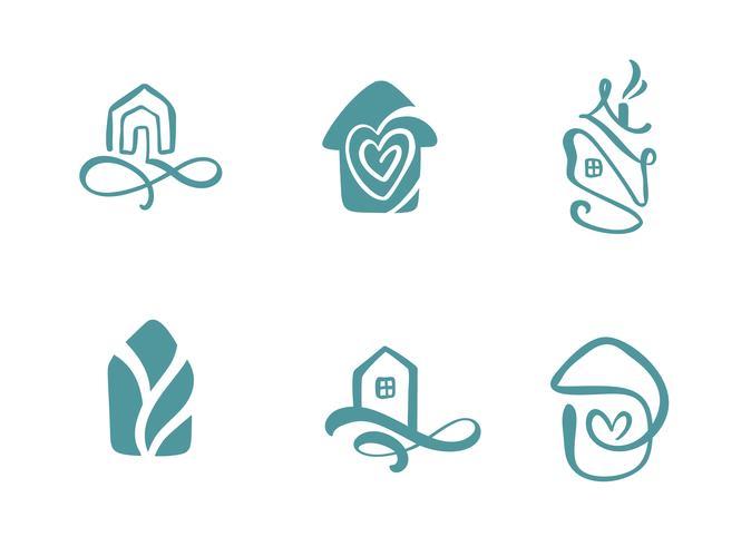 Satz der einfachen Kalligraphie bringt Hand gezeichnetes Logo unter. Echte Vektor-Icons. Nachlassarchitektur Konstruktion für Design. Kunst nach Hause Vintage-Element