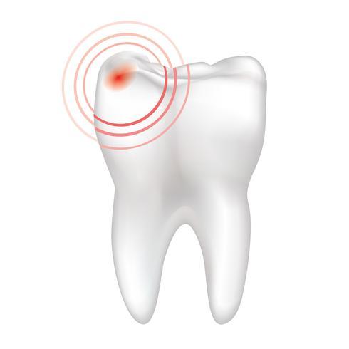 Sinal de dor de dente isolado. Sinal de dentes brancos. Ilustração médica dentária.