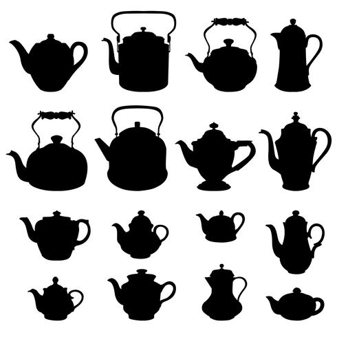 Tea kettles set Teapots collection Coffee pot silhouette signs