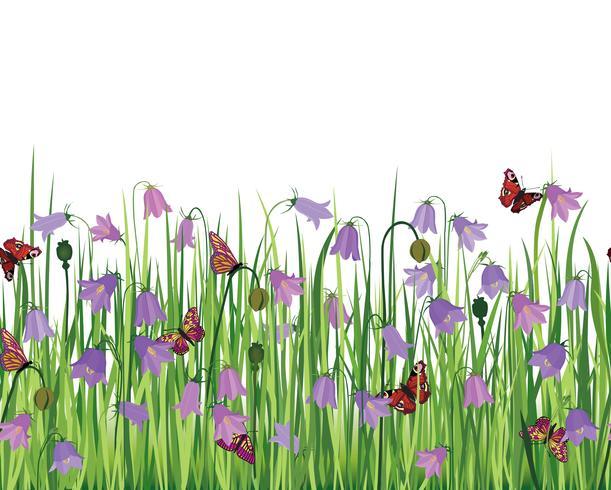 Paisagem sem costura floral. Fundo de flor. Fronteira do jardim de florescer