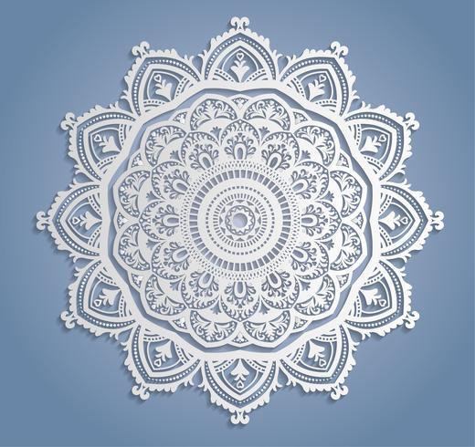 Decorazione di pizzo bianco di vettore, Centrino di pizzo rotondo, ornamento del cerchio di carta del ritaglio