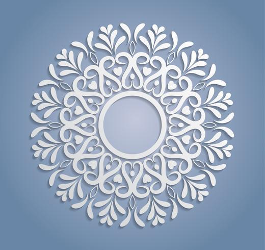 Vector white lace decoration, round lacy doily, cutout paper circle ornament