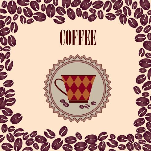 Coffee hot drink. Cafe card background. Coffee beans retro pattern.