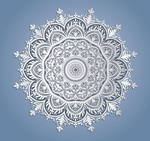 Vector white lace decoration, round lacy doily, cutout paper circle ornament