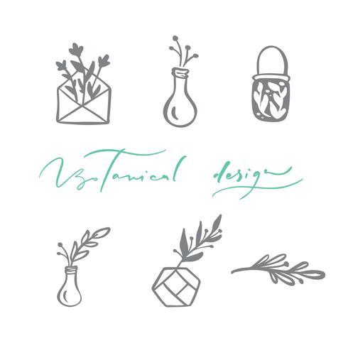 Set van vector Scandinavische bloemen Logo. Hand getrokken organische cosmetica van de pictogrambloem, bloemisthuwelijk, huisdecor. Botanische ontwerptekst
