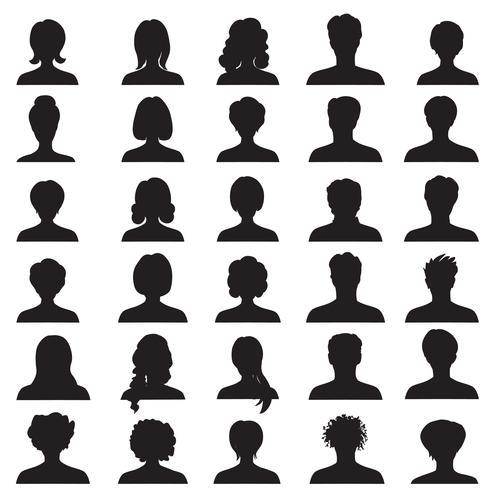 Conjunto de avatar. Silhuetas de perfil de pessoas