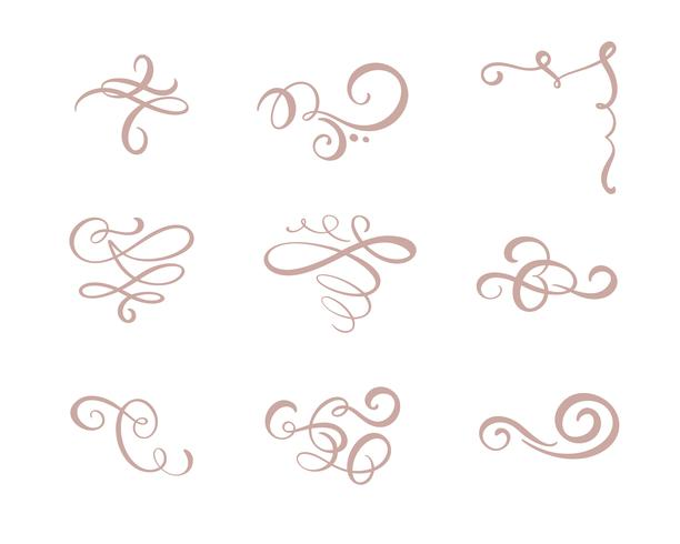Vector set of floral calligraphic elements, dividers and flourish ornaments for page decoration and frame design. Decorative silhouette for wedding cards and invitations. Vintage flowers and leaves