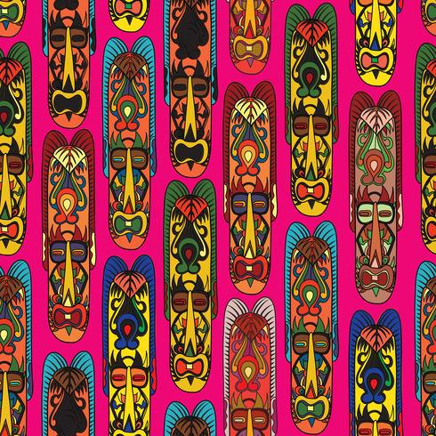 Ethnic seamless pattern, tribal style. African mask tiled background. vector
