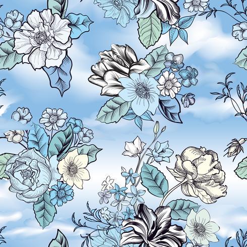 Bloemen naadloze achtergrond. Bloempatroon over blauwe hemel.