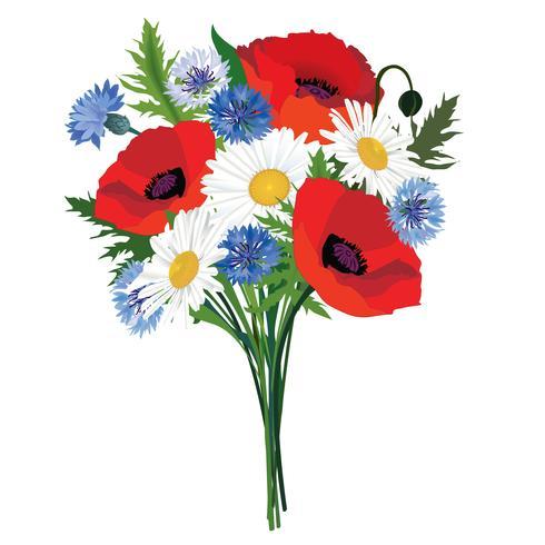 Ramo de flores Marco floral. Fondo de tarjeta de felicitación de verano vector